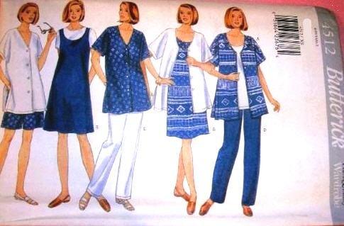 Butterick Sewing Pattern 4512 Misses' Maternity Shirt, Dress, Top, Shorts & Pants, Size 16 18 20 22