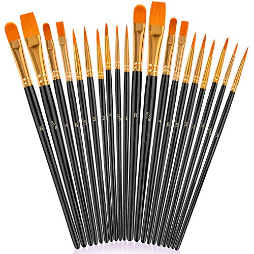 Paint Brushes for Rock Painting, 20 Pcs Black Round