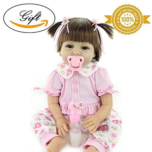 Reborn Baby Doll Wig Baby Girl Look Real Silicone Pink 22 Inches Looks Wig