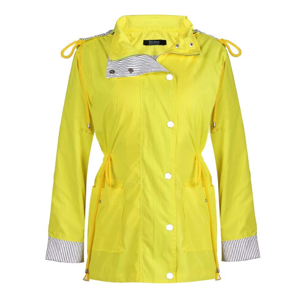 AKKEE Women's Raincoats Windbreaker Rain Jacket Waterproof Lightweight Outdoor Hooded Trench Coats