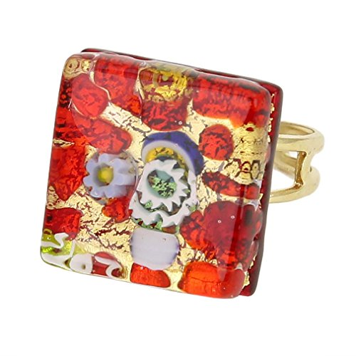 - GlassOfVenice Murano Glass Venetian Reflections Square Adjustable Ring - Red Gold