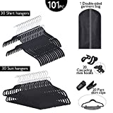 GRANNY SAYS Closet Storage Set of 101, Ultimate Closet Organization Hangers, Hooks, Clips A Garment Bag, Black