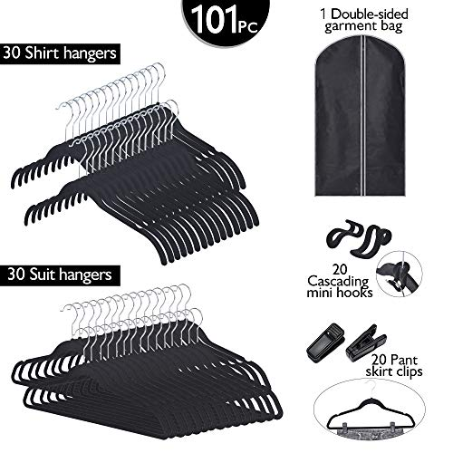 Velvety Hanger Set of 101, Hangers with Clips, Hooks, Garment Bag, Closet Storage Organization, Black by GRANNY SAYS