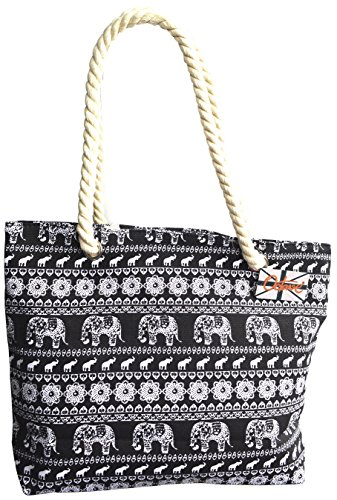OCTAVE Ladies Summer Beach Tote Handbags Collection - Various Styles & Colours Elephant Design - Black