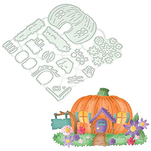 Satelliter Cutting Die Halloween Witch Pumpkin Embossing Metal Mould Template Die Cuts for DIY Scrapbooking Photo Album Decorative Metal Stencils DIY Paper Cards Making (Halloween House)]()