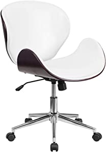 Flash Furniture Mid-Back Mahogany Wood Conference Office Chair in White LeatherSoft