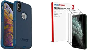 OtterBox Commuter Series Case for iPhone Xs & iPhone X - Retail Packaging & Screen Protector | 3 Pack | Case Compatible 0.33mm 9H Hardness Tempered Glass | Smudge, Crystal Clear HD Clarity