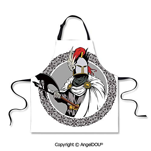 SCOXIXI Waterproof Kitchen Aprons Woman Adult Illustration of The Medieval Knight with Traditional Costume and Ancient Mask Heroic Past Waterproof Aprons for Restaurant BBQ Grill.