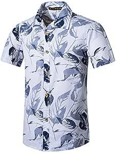 LFNANYI Camisas de Hombre Estilo de Verano Estampado de