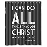 WECE 60''(Width) x 72''(Height) Bible Verse ''I can do all things through christ who strengthens me'' Philippians 4:13 100% Polyester Bath curtain