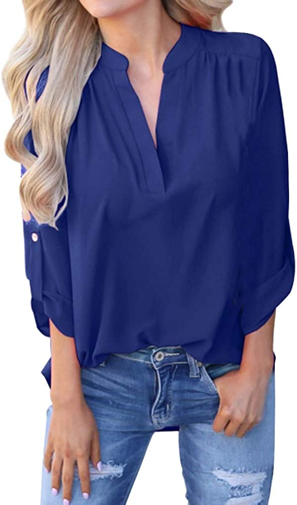 aihihe Blouses for Women Long Sleeve V Neck Casual Tops Solid Color Office Work Blouse Basic Tee Shirts Tops