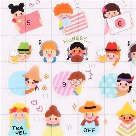 Pegatinas nota calendario agenda gracioso niño bandera mundo ...