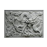 Aquarium Background HD Dragon 3D Chinese Ancient Style PVC Poster Easy to Apply Wallpaper Fish Tank Landscape Decorations (91 * 50cm)
