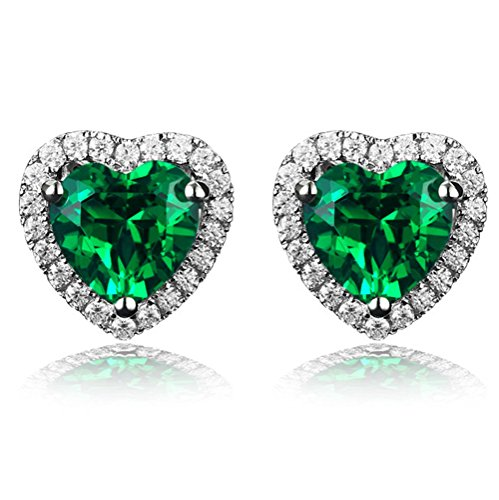 Navachi 925 Sterling Silver 18k White Gold Plated 4.5ct Heart Emerald Az9731e Stud Earrings