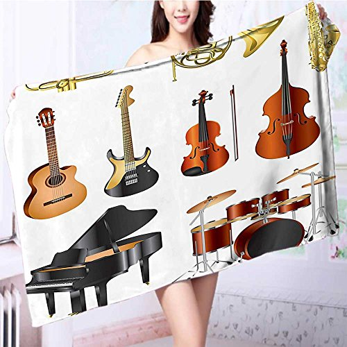 Miki Da Soft bath towelMusical Instruments Symphony Orchestra Concert Composition Easy care machine wash L55.1 x W27.5 INCH -