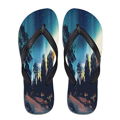(Fantasy Art House Decor Stylish Flip Flops,Enchanted Night with,for Men&Boys)