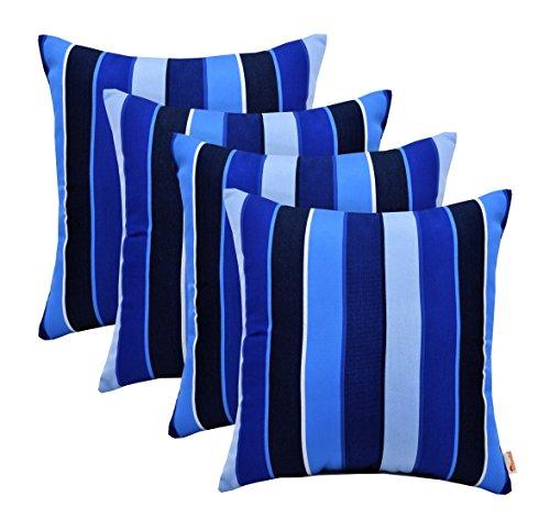 RSH Décor Set of 4 Indoor Outdoor Decorative Throw Pillows Sunbrella Milano Cobalt Blue Stripe - Choose Size (20