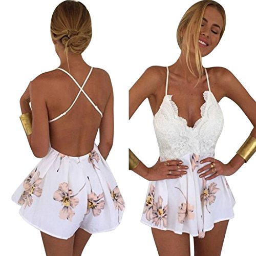 Caopixx Chiffon Jumpsuit,Women Lace Printing Jumpsuit V Neck Strap Sleeveless Rompers Playsuit for cheap