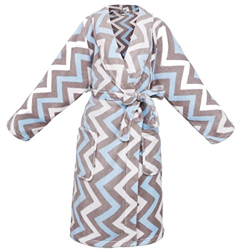 AbbyLexi Kid's Soft Dinosure Printed Fleece Kimono Robe Bathrobe, Wave, S by AbbyLexi
