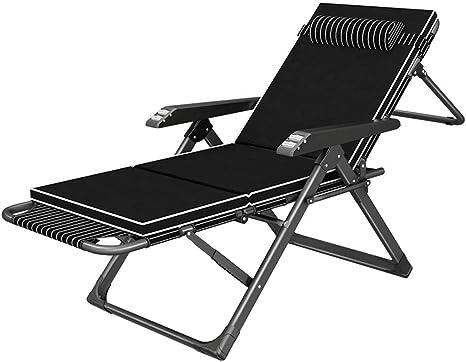 Tumbonas Sillas negras para trabajo pesado, sillas reclinables con cojín para el jardín al aire libre Acampar en el jardín, sillones reclinables plegables para salas de estar Balcón Comodidad Relájese: Amazon.es: Deportes