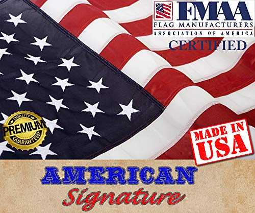 American Flag 3 x 5 ft Made in USA by FMAA Certified Manufacturer. Indoor Outdoor US Flags 3x5 ft Embroidered Stars and Sewn Stripes with Brass Grommets. (3 x 5)