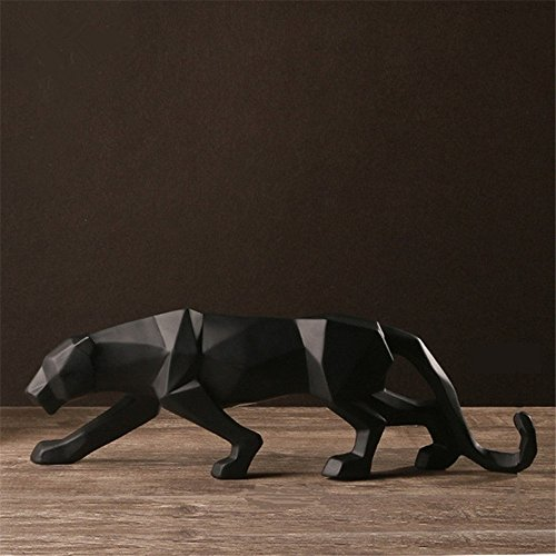 Abstract Black Panther Sculpture Figurine Handicraft Home Desk Decor Geometric Resin Wildlife Leopard Statue Craft (black) (Wildlife Sculptures Resin)