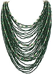 Bocar Multi-Layer Long Chain Chunky Bib Seed Beads Statement Necklace