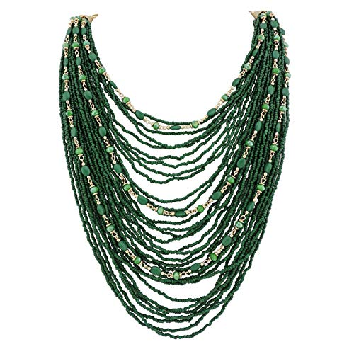 Bocar Multi-Layer Long Chain Chunky Bib Seed Beads Statement Necklace (NK-10410-deep Green) ()