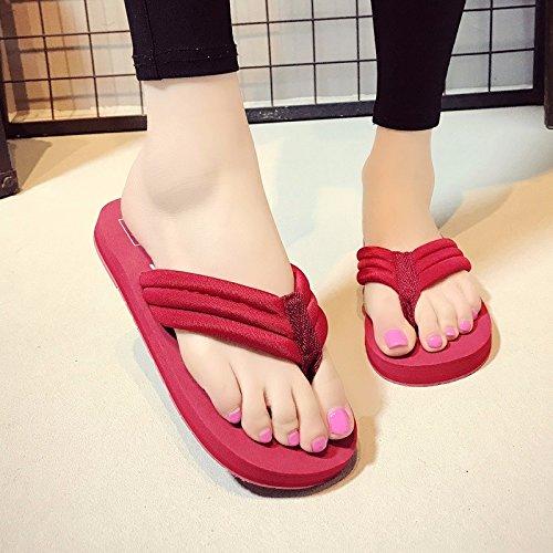 Clip Moda y Antideslizante Playa Estilo Verano Nuevo rojo Ropa Femenina XIAOGEGE Playa Herringbone de Plano Simple de Zapatos x0z47P