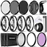 Neewer 72MM Complete Lens Filter Accessory Kit for Lenses with 72MM Filter Size: UV CPL FLD Filter Set + Macro Close Up Set (+1 +2 +4 +10) + ND Filter Set (ND2 ND4 ND8) + Other