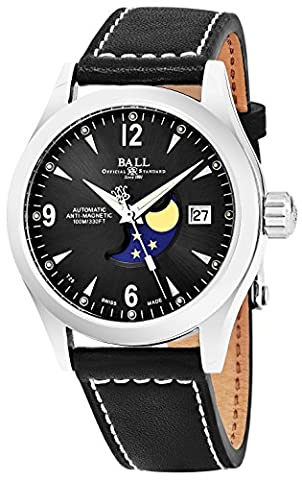 Ball Engineer II Ohio Moonphase Black Face Date Swiss Automatic Black Leather Strap Mens Watch (Ball Watch Engineer Ohio)