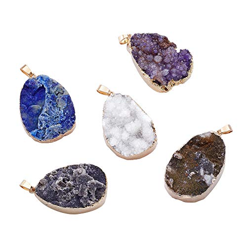 Beadthoven 5pcs Oval Plated Natural Druzy Agate Pendants with Golden Tone Brass Findings Jewelry Handmade Charms for Personalized Necklace DIY Making Accessories Supplies
