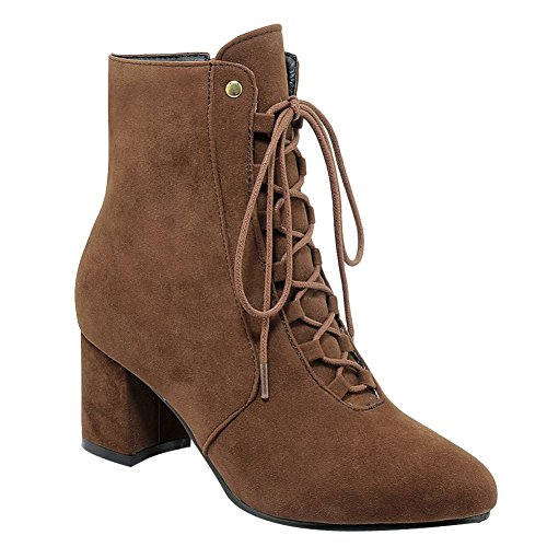 Zip up Carolbar Mid Heel Casual Lace Women's Brown Short Boots nSnqxXBw