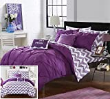 Purple Bed in a Bag Chic Home 7 Piece Heathville Pinch Pleated Chevron Print REVERSIBLE,Twin X-Long Bed In a Bag Comforter Set Purple with Sheets