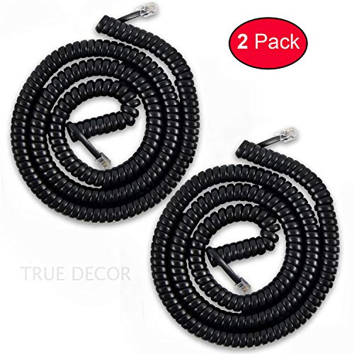 Telephone Cord Handset Cord Telephone Handset Coiled Cord Cable Telephone Spiral Cable 25 ft Uncoiled Black (Pack of 2)