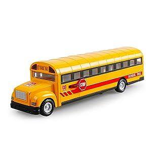 Child Back To Power Alloy Modello di auto Classico American School Bus Bus per studenti con bus in lega leggera e leggera Lo sportello può essere aperto Segnali acustici e luminosi