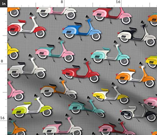 Vespas On Gray Fabric - Galore Multi Vespa Moped Scooter Colorful Julies S Wheels Italian Vehicle Print on Fabric by the Yard - Basketweave Cotton Canvas for Upholstery Home Decor Bottomweight Apparel