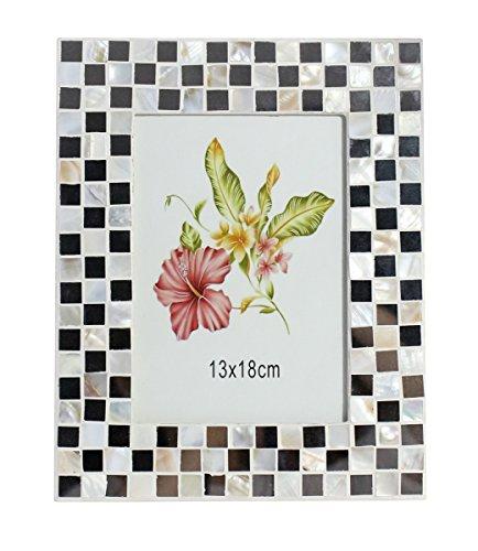 5 X 7 Elegant Vintage Mosaic Tile Design Vertical Tabletop Countertop Photo Frame with Ivory -