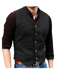 Pretygril Men's V Neck Wool Herringbone Tweed Casual Waistcoat Business Suit Vest