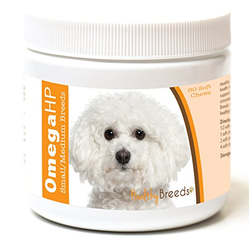 Healthy Breeds Dog Omega 3 Supplement Soft Chews for Bichon Frise - OVER 100 BREEDS - EPA & DHA Fatty Acids - Small & Medium Breed Formula - 60 (Bichon Frise Pups)