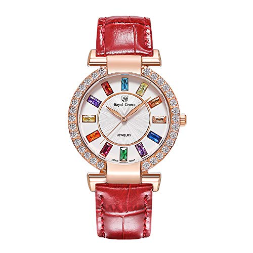 Royal Crown Women's Quartz Watch Fashion Leather Rose Gold-Tone Rhinestone Watch Jewelry Waterproof Wrist Watches from Royal Crown