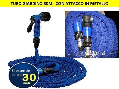 MANGUERA DE JARDIN RETRACTIL 30 METROS RIEGO REGULABLE PISTOLA DE AGUA CON CONECTORES - CONEXION EN METAL: Amazon.es: Jardín