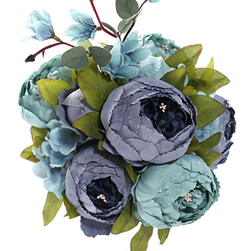 Fake Artificial Flowers Vintage Silk Peony Flowers Bouquet for Home Wedding Centerpieces Décor and DIY,Dark Blue