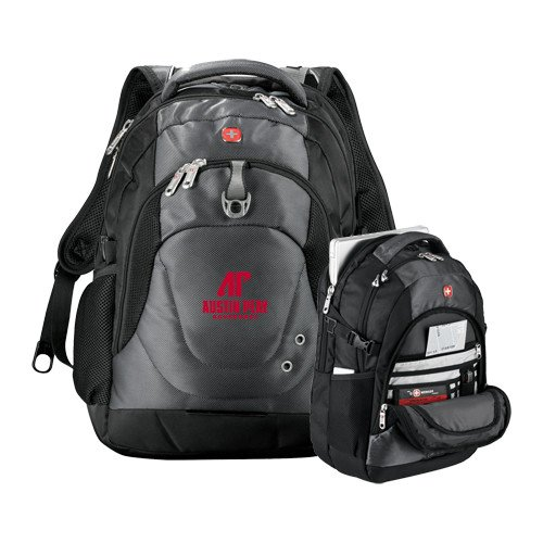 Austin Peay Wenger Swiss Army Tech Charcoal Compu Backpack 'AP Austin Peay Governors - Official Athletic Logo' by CollegeFanGear