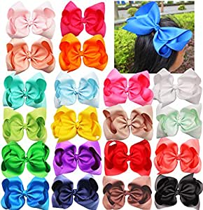 20PCS 8Inch Hair Bows Clips Grosgrain Ribbon Bows Large Big Hair Bows Clips Alligator Hair Clips Hair Accessories for Teens Kids Toddlers