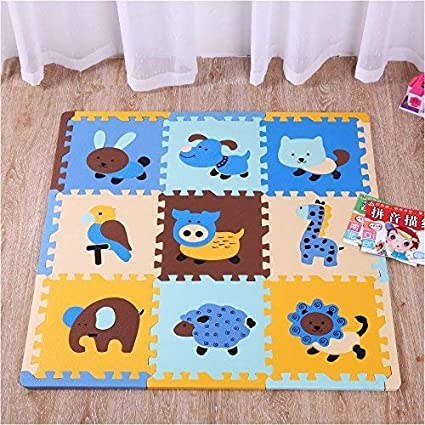 TheTickleToe Baby Nursery Floor Mat Play Mat Puzzle Games Toys with Animal Cut Outs 9 Pcs+12 Pcs Borders
