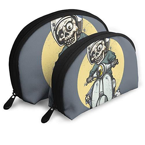 Halloween Riding Zombie Portable Half Moon Makeup Storage Bag Travel Waterproof Toiletry Bag Cosmetic Bag 2 Pack -