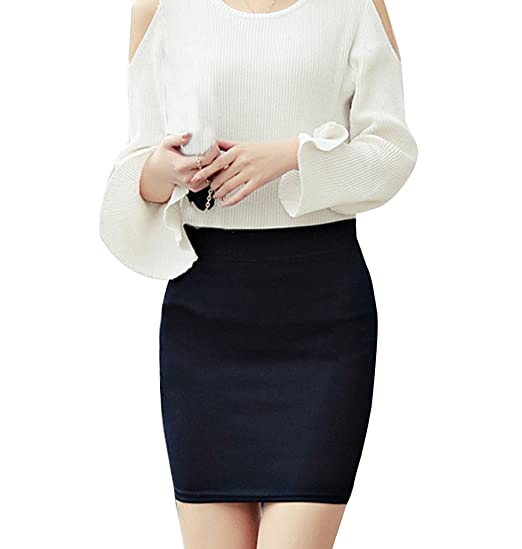 Mujer Midi Falda Tubo Corta Básica Minifalda Cintura Alta Slim Fit ...