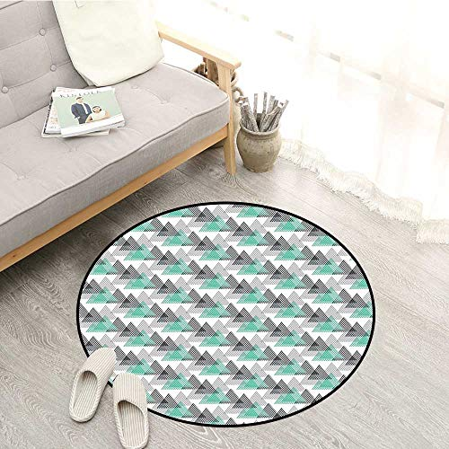 (Geometric Round Carpet 90s Fashion Design Striped Triangles Abstract Dynamic Funky Graphic Shapes Ideal Gift for Children 4'11