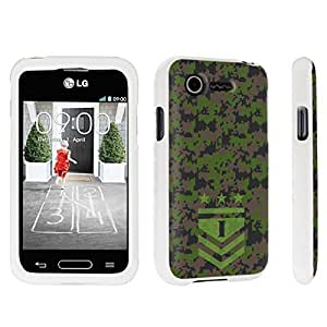 DuroCase ? LG L34C Optimus Fuel / LG Optimus Zone 2 VS415PP Hard Case White - (Army Camo Monogram I)